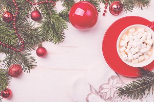 Christmas hot drink in red cup