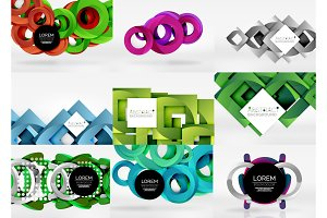Vector set of 3d circle abstract backgrounds