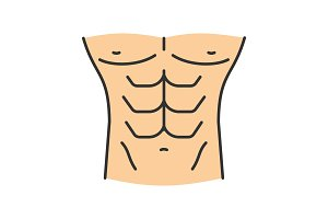 Muscular male torso color icon