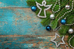 Christmas composition with fir tree