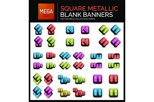 Mega set of square metallic sale buttons, banners or design elements