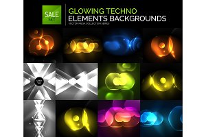Set of glowing neon techno shapes, abstract background collection