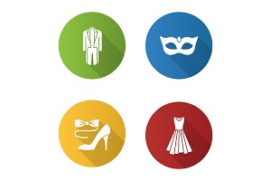 Party clothes flat design long shadow glyph icons set