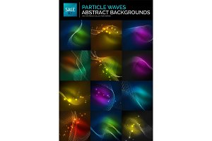 Abstract background set. Neon particles waves on dark, flowing curvy shapes
