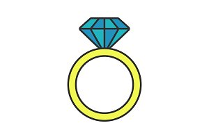 Ring with diamond color icon