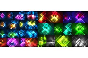 Set of neon glowing square abstract backgrounds