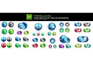 Mega collection of glass round shapes, circles and sphere banner templates, internet web boxes