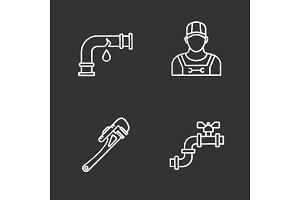 Plumbing chalk icons set