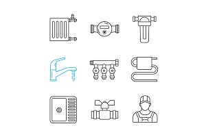 Plumbing linear icons set