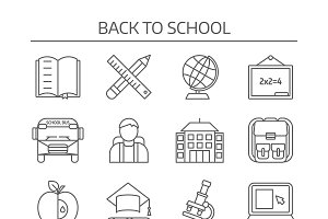 School Monochrome Linear Icons Set