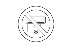 Forbidden sign with air conditioner linear icon