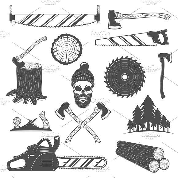 Lumberjack Monochrome Elements Set
