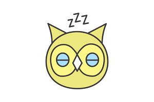 Sleeping owl color icon