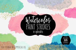 Watercolor Paint Stroke Splatters