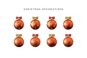 Xmas set balls red color. Christmas bauble decoration elements