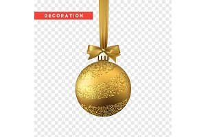 Xmas balls gold color. Christmas bauble decoration elements.