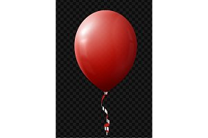 Balloon isolated with ribbon on transparent background
