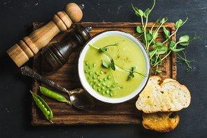 Homemade pea cream soup