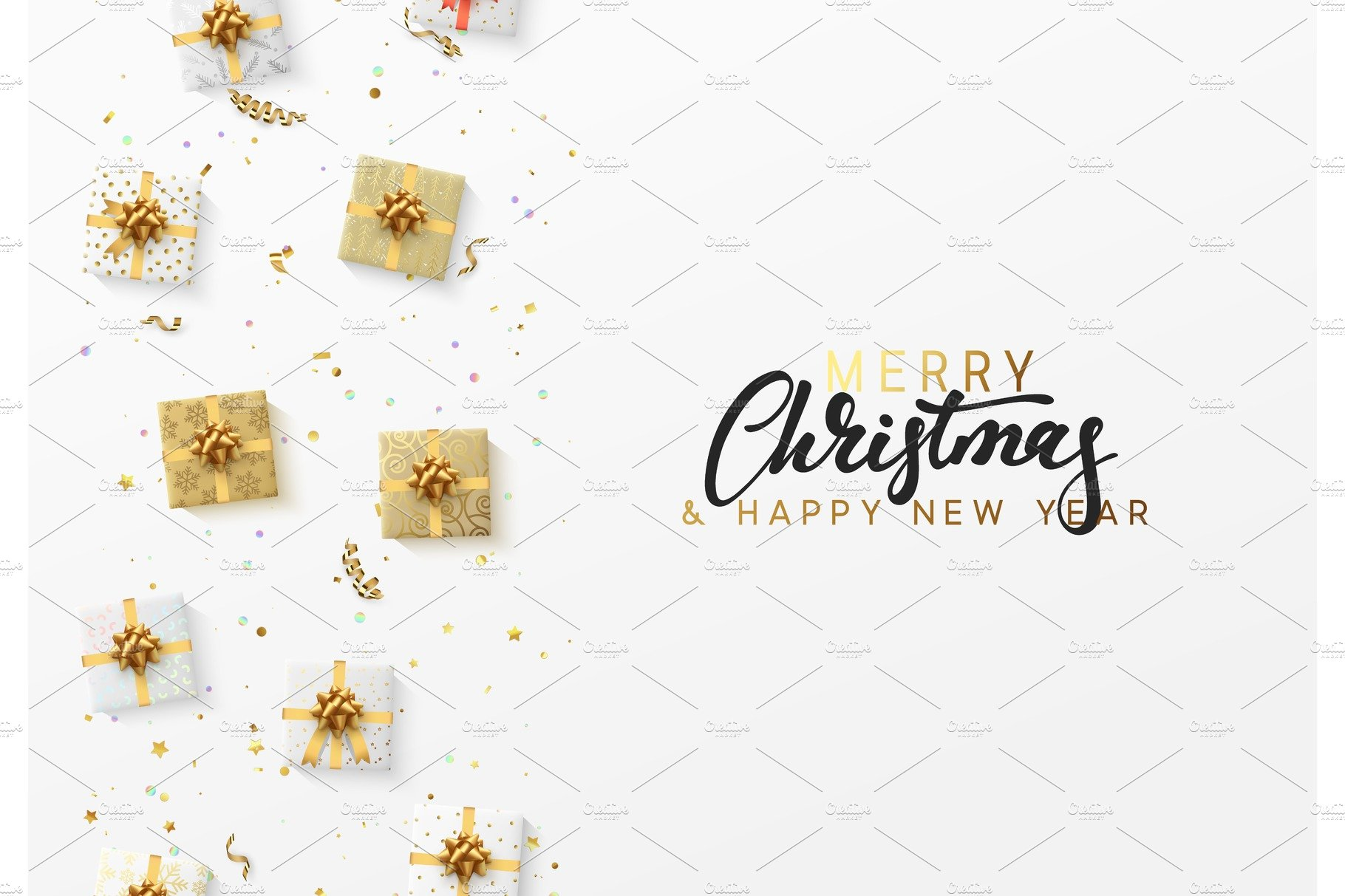 Merry christmas greeting card xmas holiday background patterns merry christmas greeting card xmas holiday background gift box with gold kristyandbryce Images