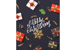 Meery Christmas background. Christmas composition. gift, confetti, golden snowflake and balls, Xmas tree branch