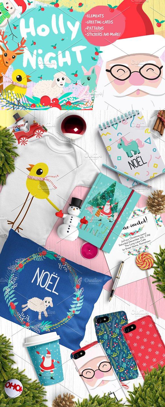 Holly Night Christmas set o-Graphicriver中文最全的素材分享平台