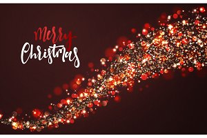 Christmas background with bright realistic glitter confetti of stars.