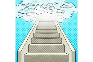 Stairway to heaven pop art vector