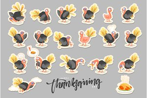 Collection cartoon Turkey bird. Happy Thanksgiving Celebration.