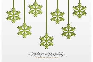 Christmas background, design green snowflakes texture paper