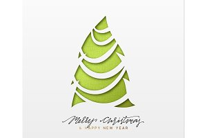 Christmas background, design Xmas green tree of texture paper