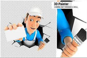 3D Painter Coming Out Through a Wall