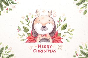 Watercolor christmas dogs kit. Xmas