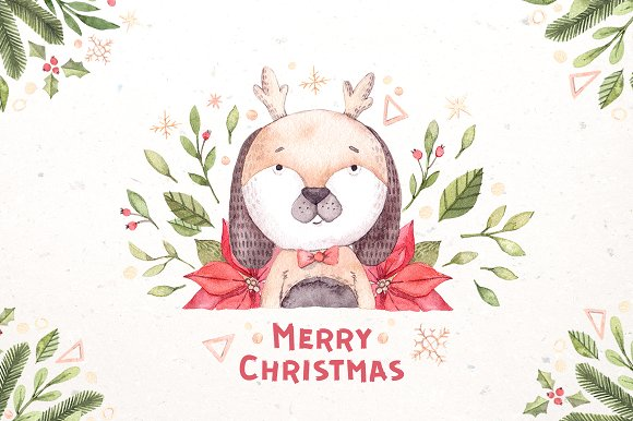 Watercolor christmas dogs k-Graphicriver中文最全的素材分享平台