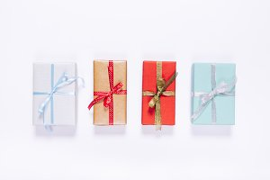 Top view of red and blue gift boxes