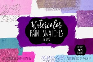 Watercolor Brush Swatches in Vivid