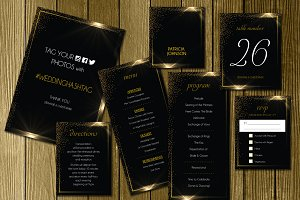Black Gold Wedding Invitation Suite