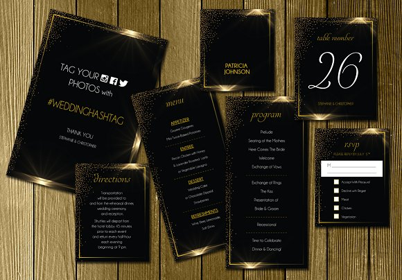 black gold wedding invitation suite invitation templates