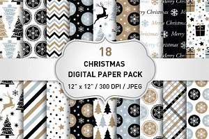 Black Christmas Digital Paper