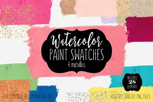 Watercolor Paint Swatches & Confetti
