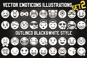 Vector Outlined Emoji Set 2