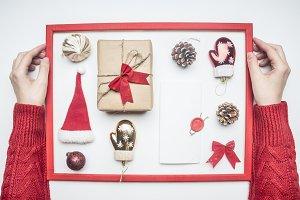 Christmas flat lay frame