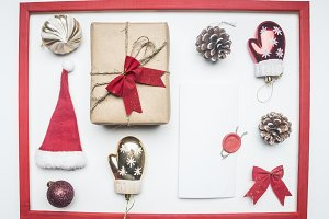 Christmas flat lay red frame