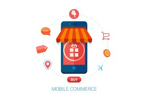 Online mobile shopping flat icons.