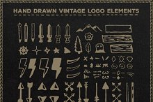 Drawn Vintage Logo Elements + Bonus!