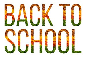 word Back to school written with leaves white isolated background, banner for printing, creative illustration of colored leaves.