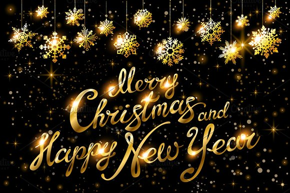 Merry Christmas Happy New Year gold ~ Graphics ~ Creative Market