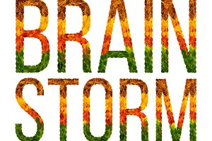 word Brainstorm written with leaves white isolated background, banner for printing, creative illustration of colored leaves.