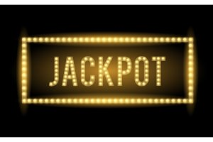 Jackpot text title with Electric bulbs and frame. Vector illustration.