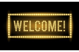 Welcome neon light title Realistic vector illuminated letters