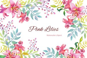 Pink Lilies.Watercolor clipart.